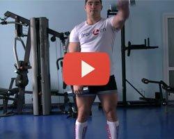 Видео: подъем гантелей перед собой стоя