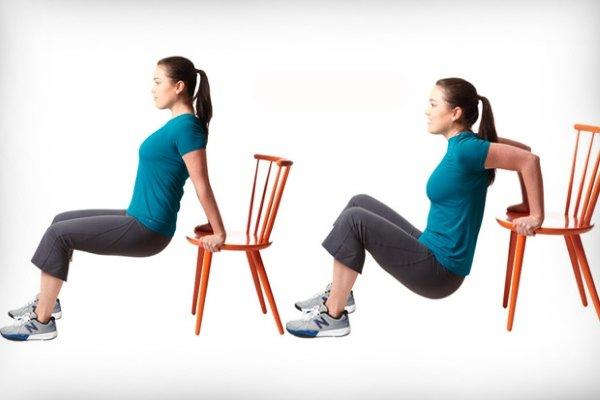 Упражнение для трицепса с упором на скамейку