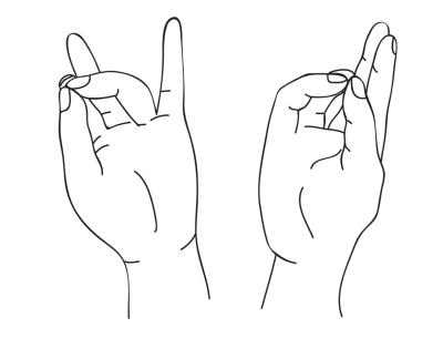 Пушан мудра (мудра гармонии) Техника выполнения (2 вариант)